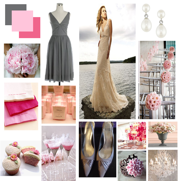 Pink Gray Wedding Colors